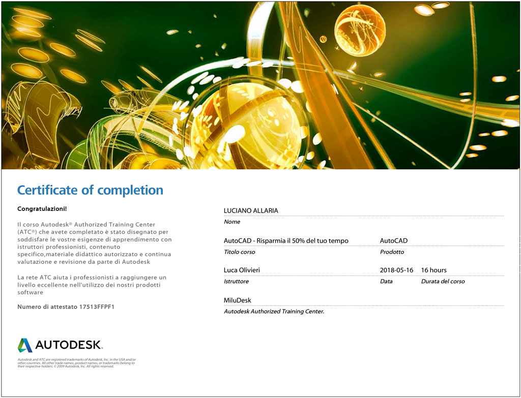certificato autodesk